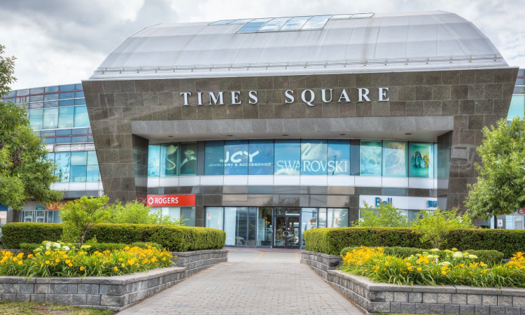 an outdoor view of Times Square mall